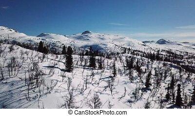montagne, hiver scénique, cinematic, mouvement, appareil ...