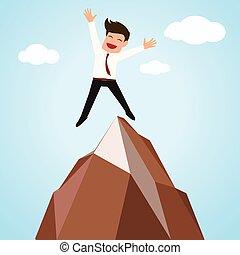 montagne, homme affaires, heureux, réussi, sommet