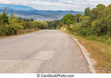 montagne, honduras., strada, yamaranguila, paesaggio