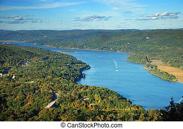 montagne, hudson, automne, pic, rivière, vue