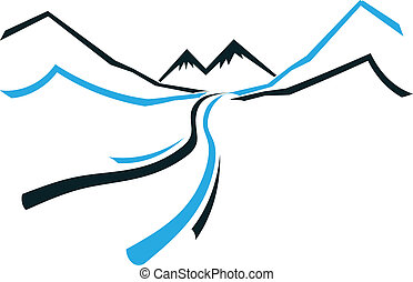 montagne, icône, vallée, route, logo