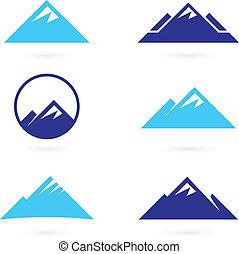 montagne, icônes, isolé, colline, blanc, ou