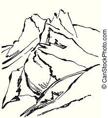 montagne, illustration, main, vecteur, dessiné, paysage