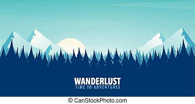 montagne, illustration., natura, alberi., silhouette, vettore, fondo, paesaggio