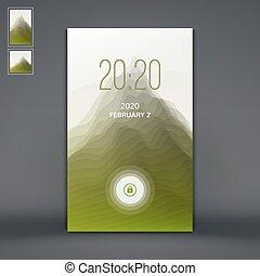montagne, illustration., paysage., mobile, serrure, écran, moderne, silhouettes, vecteur, backgrounds., apps., montagnes