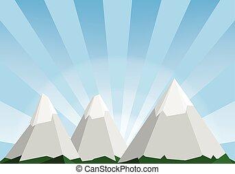 montagne, illustration, poly, bas, fond, dessin animé, ...