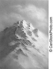 montagne, illustration., set., main, vecteur, dessiné, sketch.
