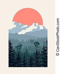 montagne., illustrazione, inverno, foresta, conifero, verticale