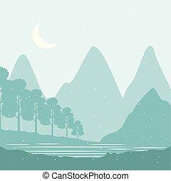 montagne, inverno, neve, alberi pino, paesaggio