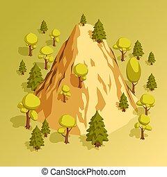 montagne, isométrique, entouré, arbres, divers, colline, forêt