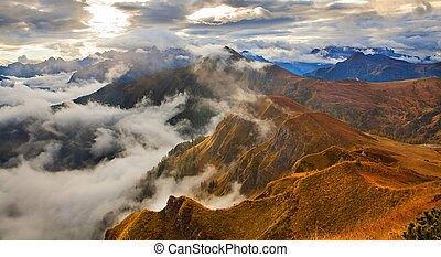 montagne, italia, -, dolomites., pordoi, vista
