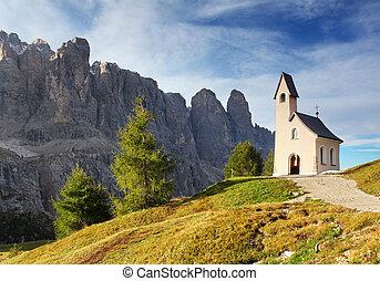 montagne, italie, alps., passe, paysage, église, nature, gentil