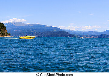 montagne, italie, panorama, lac, garda, canotage, motorboats