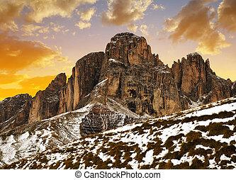 montagne, italy., groupe, tyrol, (langkofel), sassolungo, coucher soleil, sud