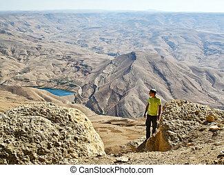 montagne, jordanie, touriste