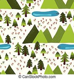 montagne, lacs, extérieur, scène, vecteur, modèle, carreau