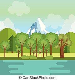 montagne, lago, paesaggio, scena
