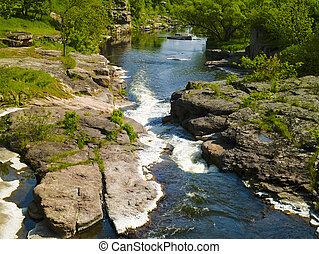 montagne, landcape, été, rocks., écoulement, rivière
