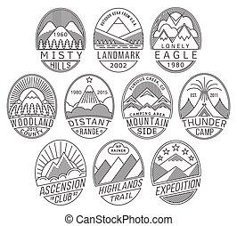montagne, linéaire, insignes
