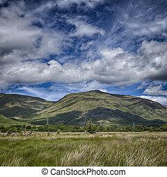 montagne, loch, ecosse, crainte, paysage
