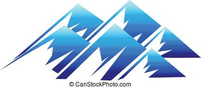 montagne, logotipo, vettore