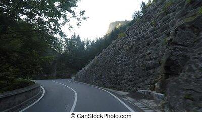 montagne, long, conduire, route