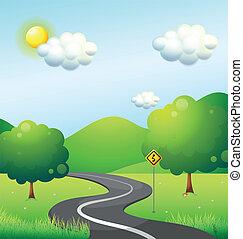 montagne, long, courbe, panneaux signalisations