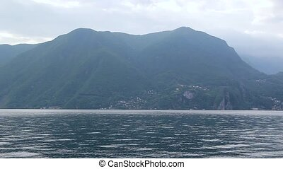 montagne, lugano, lac, vue