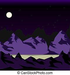 montagne, luna, notte, sotto