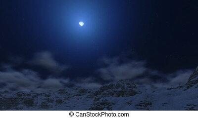 montagne, lune, crêtes, neigeux