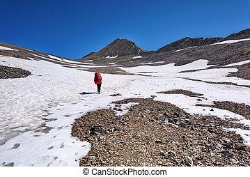 montagne, marche, touriste, plateau, hiking.