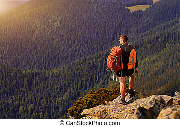 montagne, maschio, indietro, viaggiatore