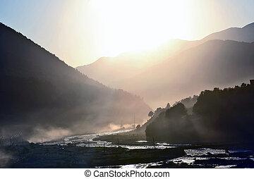 montagne, montagnes, ensoleillé, fond, aube, rivière