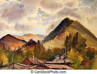 montagne, montagnes, peint, aquarelle, altai, village, zamulta, paysage