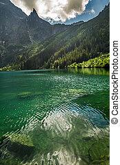 montagne, montagnes, rocheux, fond, lac