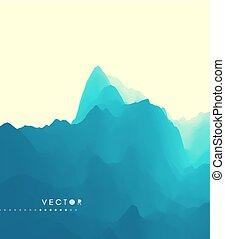 montagne, montagneux, illustration., terrain., résumé,...