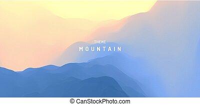 montagne, montagnoso, illustration., terrain., astratto, sunrise., fondo., vettore, sun., paesaggio