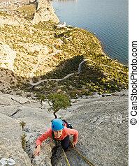 montagne, monter, grimpeur, rocher