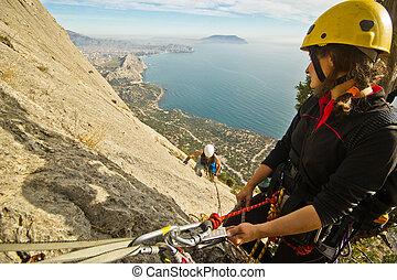 montagne, monter, grimpeurs, rocher