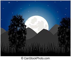 montagne, monter, lune