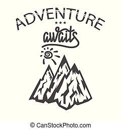 montagne, motivation, concept, découverte, randonnée, voyage, pic, journey., exploration., tourisme, icon., aventure