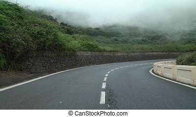 montagne, mouvement, vue, vert, long, nuage, niveau, first-...