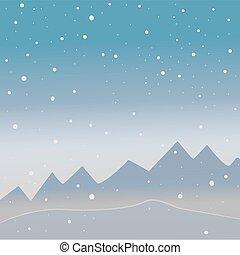 montagne, naturale, inverno, nevoso, stagione, nature., sky., albero, uccelli, dall'aspetto, pochi, fondo, scuro, freddo, bacche, paesaggio., rosso