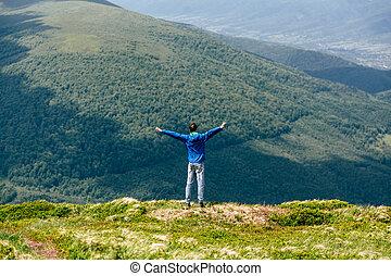 montagne, naturel, été, concept, liberté, paysage