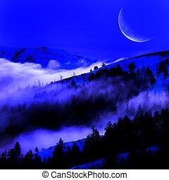 montagne, nebbia, valle, luna
