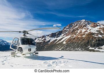 montagne, neige, atterrissage, hélicoptère