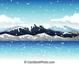 montagne, neige, beauté, dessin animé