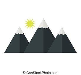 montagne, neige, icône