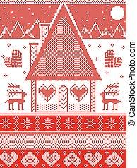 montagne, neige, renne, point, maison, étoile, ornements, inclure, modèle, nordique, scandinave, coeur, flocon de neige, style, pain épice, lune, croix, illustration, noël blanc, rouges, inspiré