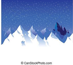 montagne, neigeux